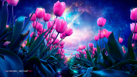 The hidden boat in the magic Island of Tulips by Ellysiumn