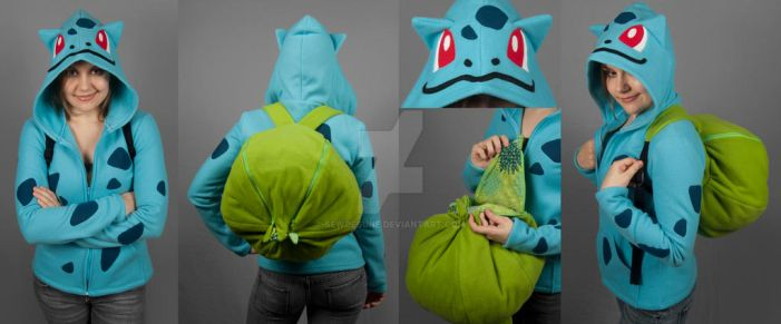 Bulbasaur Hoodie with Bulb Backpack by SewDesuNe
