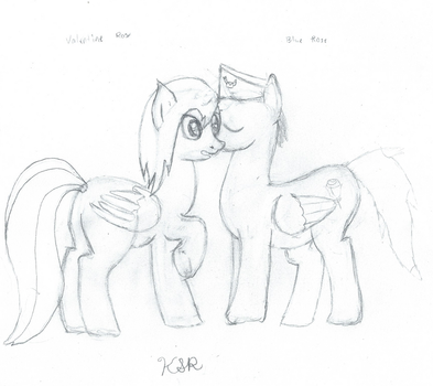 Blue Rose sneaking a kiss by Kaydog9734