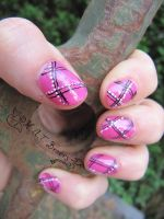 Pink nail art with stripes by Kythana