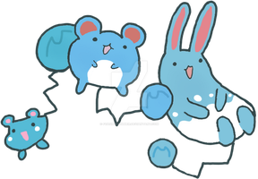 Azurill,Marill and Azumarill