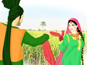 Traditional Punjabi Couple by ArsalanKhanArtist