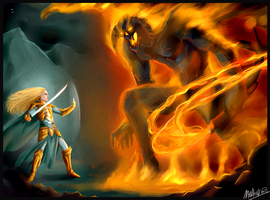The Fall of Gondolin : Glorfindel vs. Balrog by MellorianJ