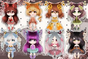 [ Closed ]NYP: Mini Hananoneko Adoptables by Yahone