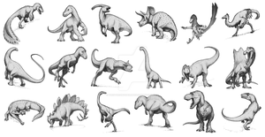 Dinosaur Sketches by FredtheDinosaurman