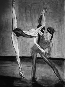 Blind dancers 2 black and white by RiverGlow