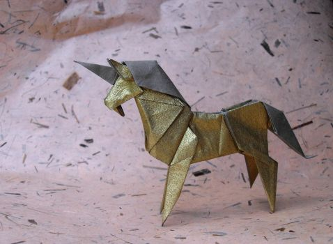 Origami Golden Unicorn by Orestigami
