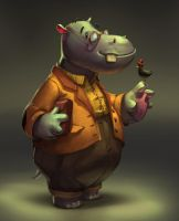 Prof Hippo by LM-LucileMeunier