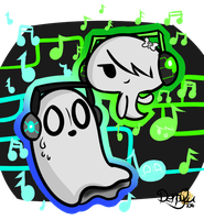 Carrie and Napstablook (updated) by CloudyZu