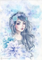 Girl with succulent headpiece by ARiA-Illustration