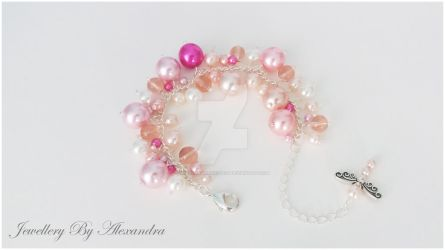 Cluster Bracelet-Pink + Cream with Dragonfly Charm by WhiteMagicPriestess