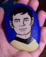 Cartoon Sulu hand painted onto rock by TinyAna