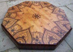 Henna pyrography timber clock by WOODEWYTCH