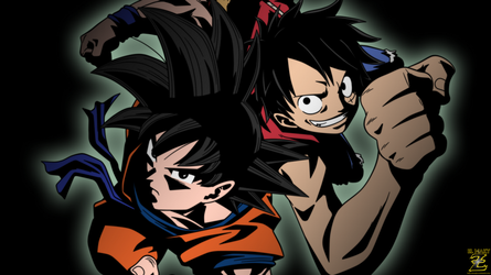 (Wallpaper) Goku And Luffy by el-maky-z