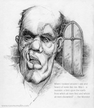 Frankenstein's Monster in pencil by RustyScratchy