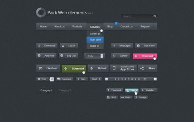 Free Dark Web UI Set by Pixeden
