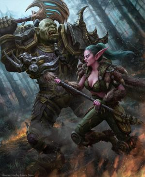 Night Elf vs. Orc by anotherwanderer