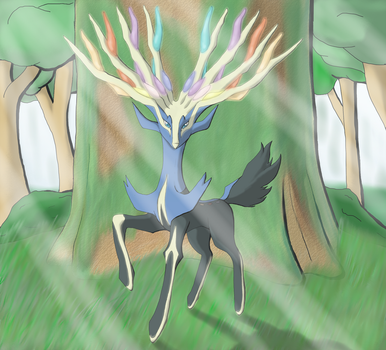 Xerneas the Rainbow Deer by Trinity-Reido