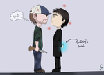Give me a kiss - Bobby x Crowley by Anonymous---Lucifer