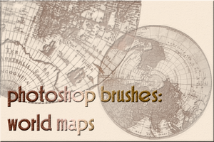 photoshop brushes: world maps by gutterlily10
