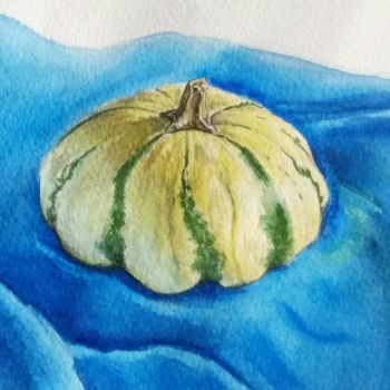 gourd on blue cloth 2017 by saving-paints