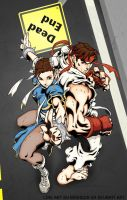 Chun li  and Ryu by Hamtoilet