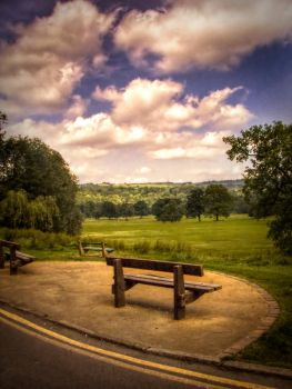 Bench with sky,clouds STOCK by needanewname