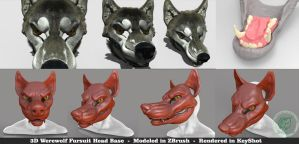 Werewolf 3D Base Head by The-SixthLeafClover