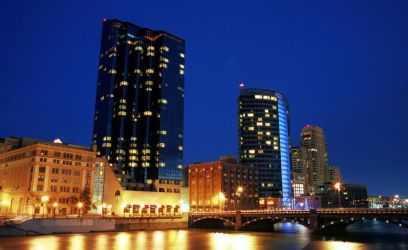 Grand Rapids Skyline At Night by dharvell
