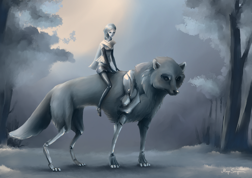 Girl and Cyborg wolf by MarZu