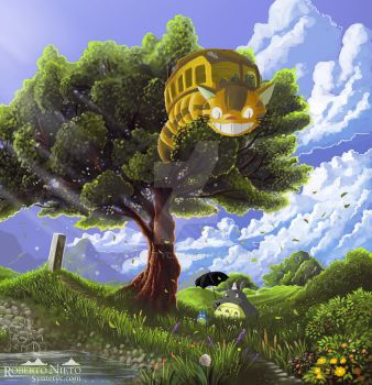 Totoro and Catbus by Syntetyc