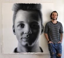 Charcoal pencil portrait of my Brother by AtomiccircuS
