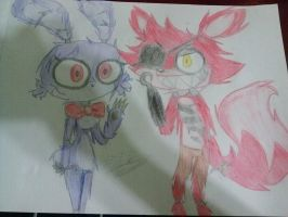 Foxy and Bonnie practice by greendrawer