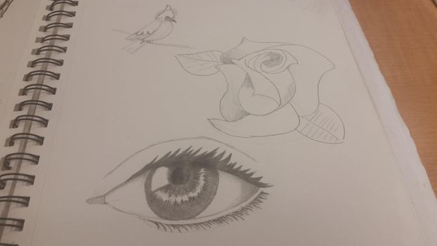 doodles and an eye by spraypaintking