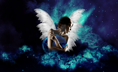 Angel with blue planet by paulchenpanter59