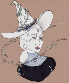 Inktober with Witch - Day 1 : Swift / Flower Witch by SkullieArt