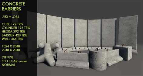 Free concrete barriers by Yughues