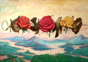 Nightingales and roses by yalex