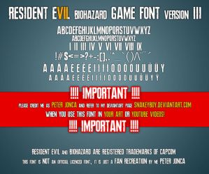 Resident Evil 7 biohazard Game Font version 3 by Snakeyboy
