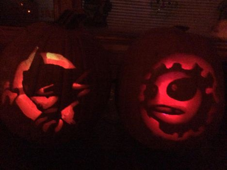 :Pokemon: Gastly and Haunter Pumpkins by MiharutheKunoichi