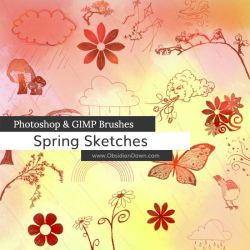 Spring Sketches Photoshop and GIMP Brushes by redheadstock