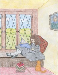 Hermione in the common room by Mizaya