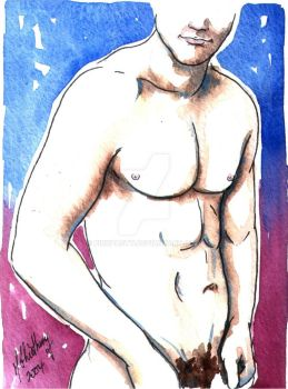 Male Nude. Purple + Blue. 11 by Pinkpasty