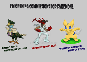 I'm opening commissions for fakemons.
