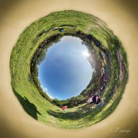 Tiny Planet - Mountain bicycling by gansukh
