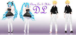 .:Classy Miku and Len Dl:. by Crystallyna