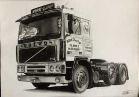 Volvo F12 1985 drawing by alainmi