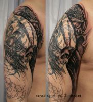 2 Cover Tribal Skull by 2Face-Tattoo