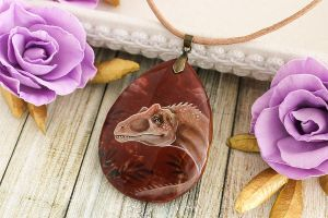 Allosaurus - handmade painted stone pendant by LunarFerns