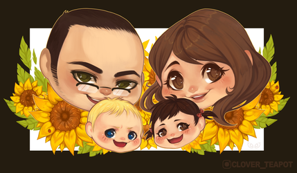 Sunflower family - Chibi Commission by clover-teapot